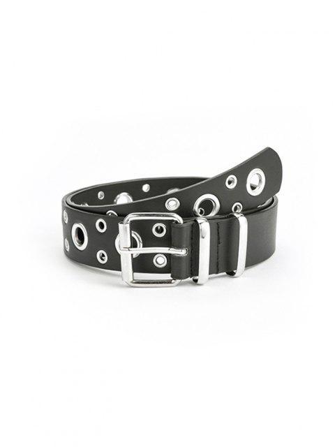 ladies Punk Row Grommet Buckle Belt - BLACK  Mobile
