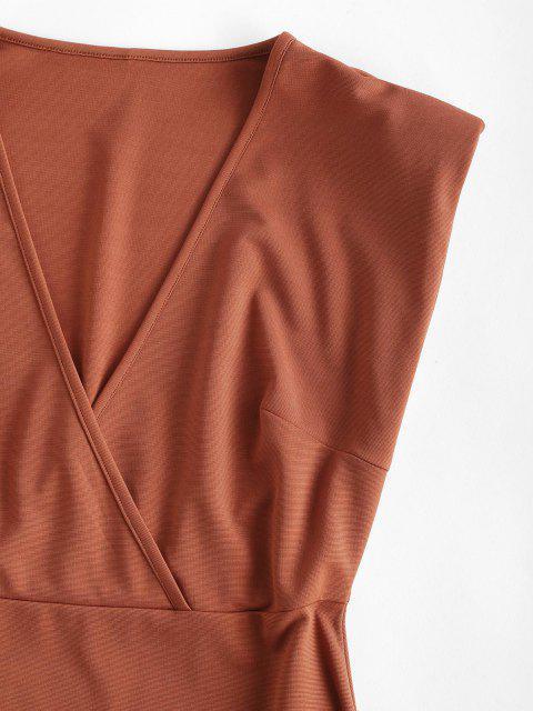 shop Surplice Padded Shoulder Sheath Work Dress - COFFEE L Mobile