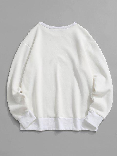 latest Fleece Lined Letter Print Sweatshirt - WHITE S Mobile