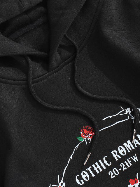 fashion Gothic Romance Rose Print Fleece Lined Hoodie - BLACK 2XL Mobile
