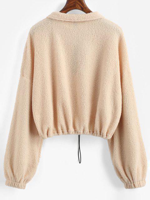 womens ZAFUL Faux Shearling Half Zip Toggle Drawstring Sweatshirt - LIGHT YELLOW XL Mobile