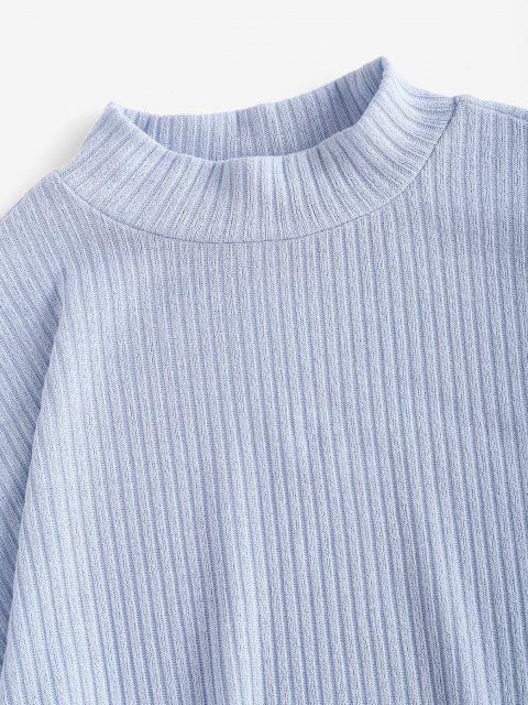 new ZAFUL Mock Neck Ribbed Lantern Sleeve Knitwear - LIGHT BLUE S Mobile