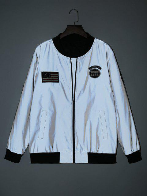 ladies American Flag Embroidered Applique Reflective Padded Jacket - GRAY S Mobile