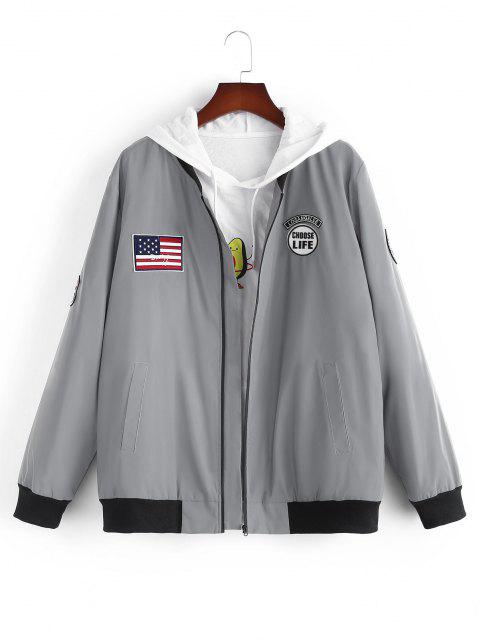 ladies American Flag Embroidered Applique Reflective Padded Jacket - GRAY XL Mobile