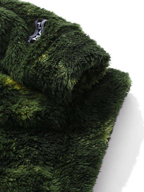 Sweat à Capuche Teinté Fourré avec Poche en Avant - Vert Forêt Moyen S Mobile
