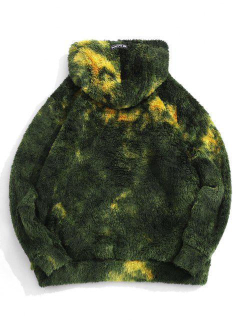 womens Tie Dye Fluffy Front Pocket Hoodie - MEDIUM FOREST GREEN L Mobile