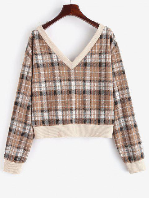 ZAFUL Ribbed Trim Plaid Double-v Sweatshirt - قهوة S Mobile