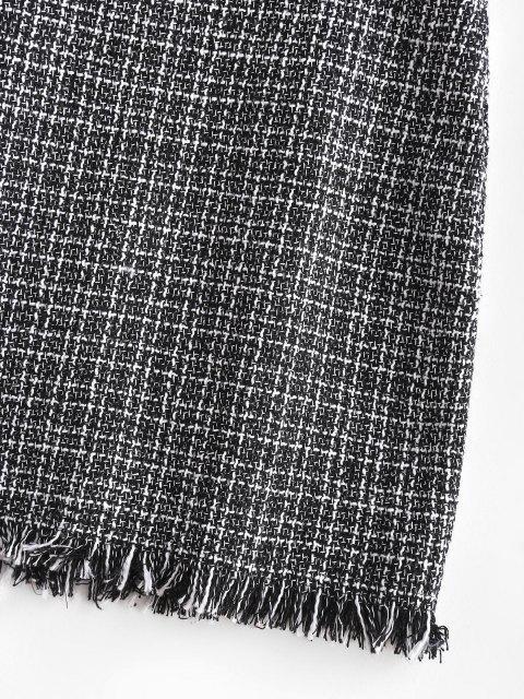 fancy Plaid Frayed Hem Tweed Mini Skirt - BLACK M Mobile