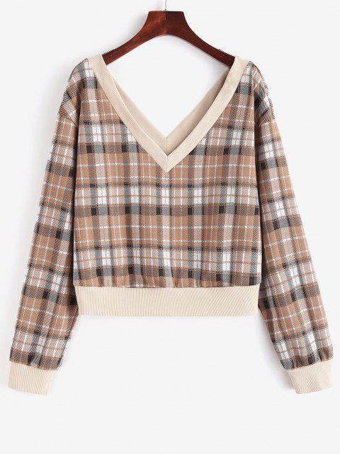 online ZAFUL Ribbed Trim Plaid Double-v Sweatshirt - COFFEE M Mobile