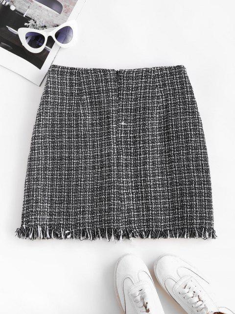 Plaid Frayed Hem Tweed Mini Skirt - أسود XL Mobile