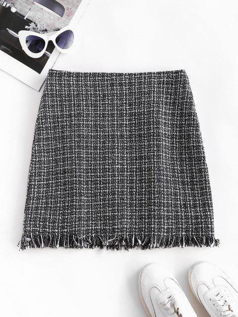 shop Plaid Frayed Hem Tweed Mini Skirt - BLACK S Mobile