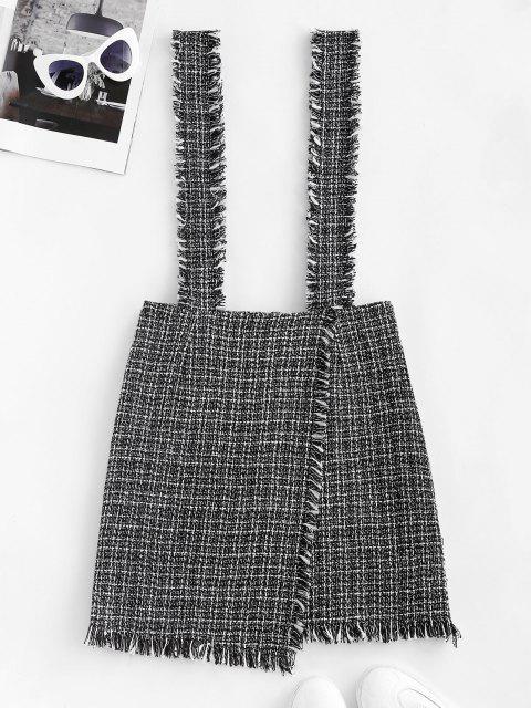 latest Plaid Overlap Tweed Frayed Suspender Skirt - BLACK M Mobile