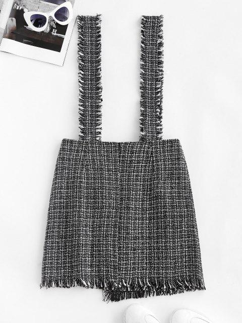 sale Plaid Overlap Tweed Frayed Suspender Skirt - BLACK S Mobile