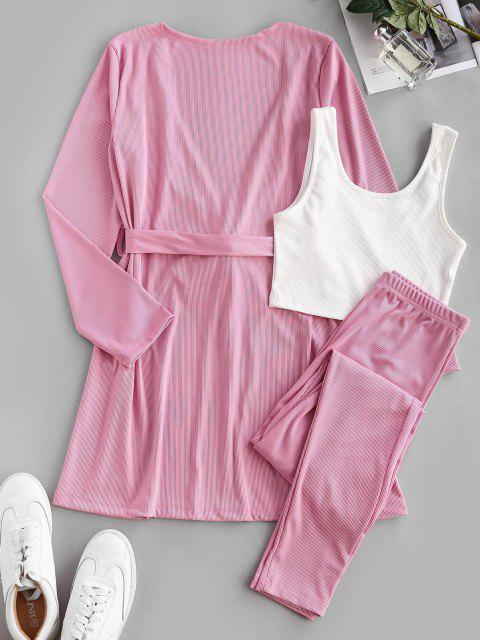 fancy Belted Ribbed Lounge Three Piece Cardigan Set - LIGHT PINK S Mobile