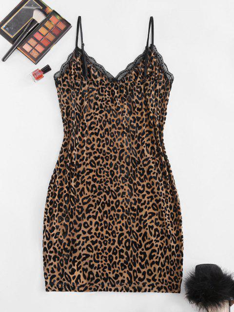 ZAFUL Shorts mit Spitzenbesatz und Leopardenmuster - Kaffee M Mobile