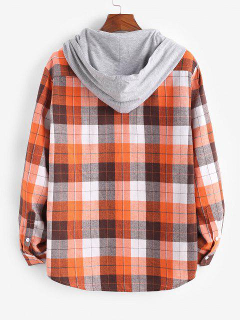 Plaid Print Hooded Applique Detail Shirt - برتقالي قاتم L Mobile