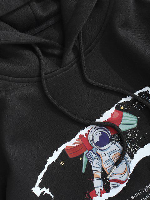 Astronauta Imprimir Forro de Lã Moletom - Preto L Mobile