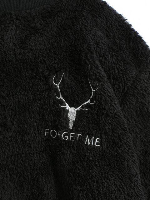 buy Elk Graphic Embroidered High Neck Fluffy Sweatshirt - BLACK 2XL Mobile