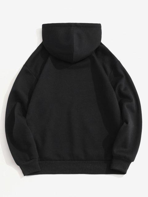 womens Fleece Lined Slogan Astronaut Print Hoodie - BLACK M Mobile