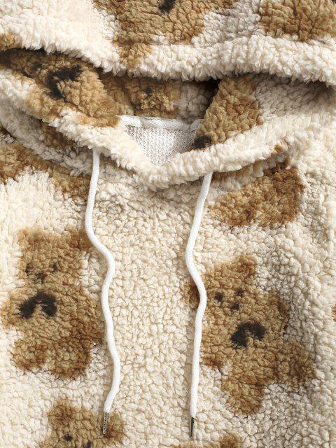 trendy Bear Pattern Teddy Hoodie - LIGHT COFFEE L Mobile