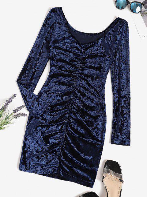 best V Back Velvet Ruched Bodycon Dress - DEEP BLUE L Mobile