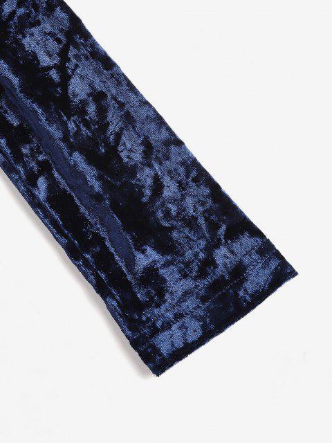 unique V Back Velvet Ruched Bodycon Dress - DEEP BLUE M Mobile