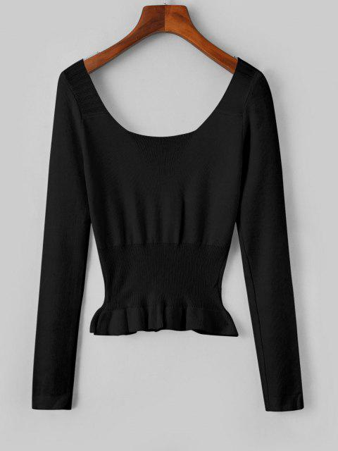 womens Mock Button Peplum Scoop Neck Sweater - BLACK ONE SIZE Mobile