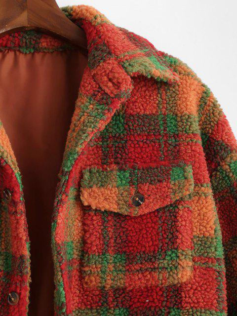 Veste Boutonnée Motif à Carreaux avec Poche - Orange Foncé S Mobile
