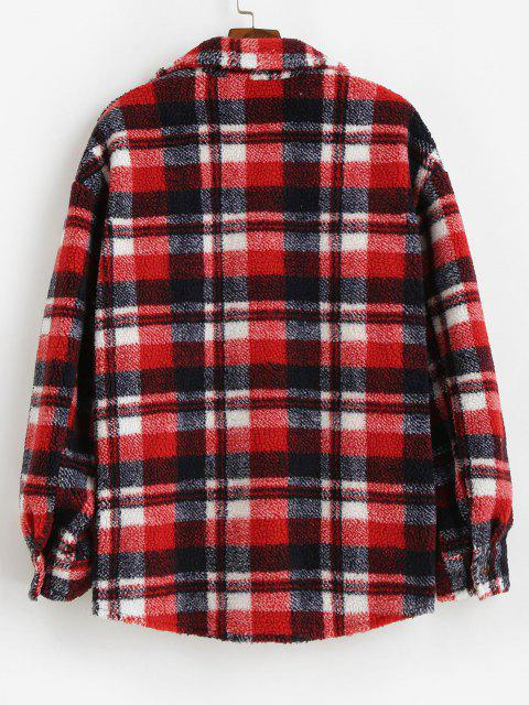 online Plaid Pattern Pocket Button Up Teddy Jacket - RED S Mobile