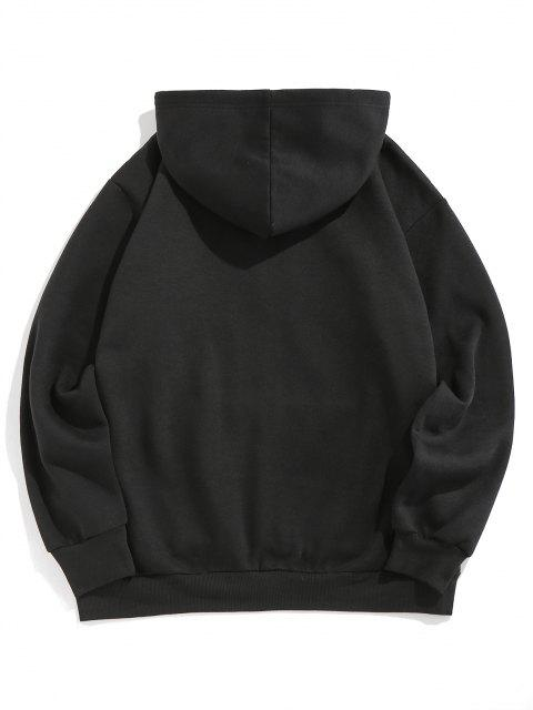 affordable ZAFUL Double Tiger Print Fleece Lined Hoodie - BLACK 2XL Mobile