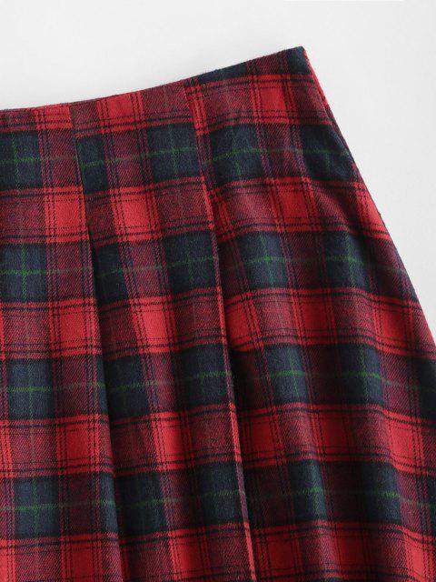 ladies Plaid Tartan Kilt Pleated Mini Skirt - RED L Mobile