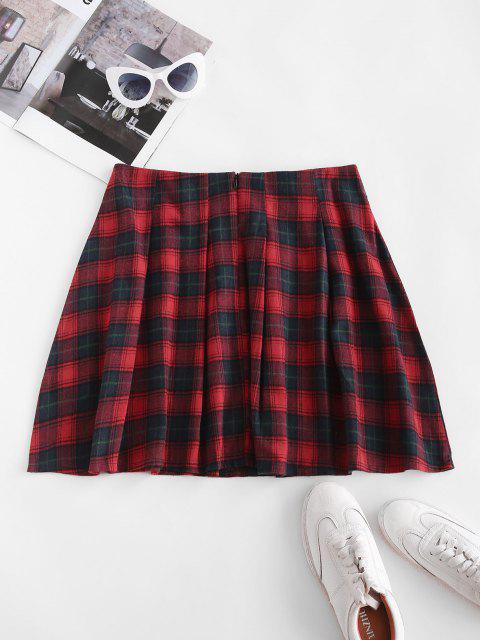 Plaid Tartan Kilt Pleated Mini Skirt - أحمر M Mobile