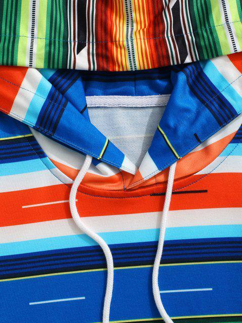 Sudadera Hombro Caído Rayada Colorido - Multicolor XL Mobile