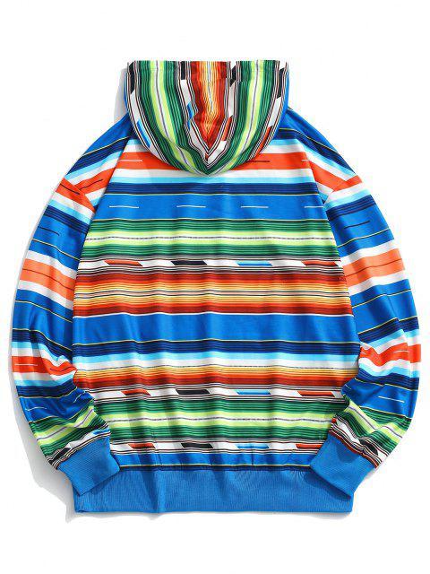 shops Colorful Striped Drop Shoulder Hoodie - MULTI M Mobile