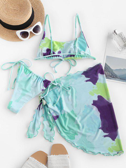 outfit ZAFUL Tie Dye Bowknot Mesh Three Piece String Bikini Swimwear - LIGHT BLUE M Mobile