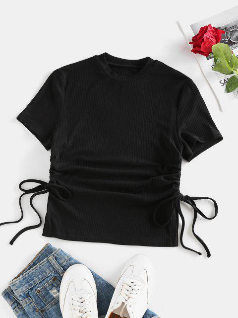 latest ZAFUL Ribbed Cinched Slit Fitted T Shirt - BLACK S Mobile