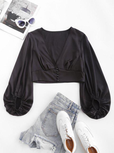 shop ZAFUL Silky Satin Puff Sleeve Crop Blouse - BLACK S Mobile