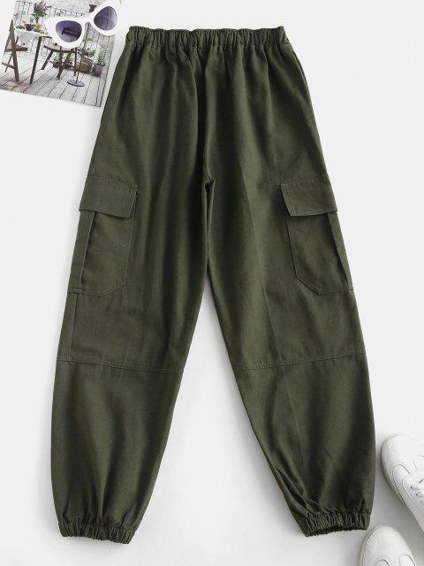 buy Drawstring Pocket Beam Feet Cargo Pants - DEEP GREEN M Mobile