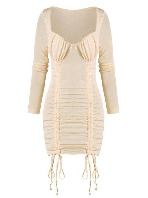 sale Cinched Ruched Bust Sheeny Bodycon Dress - APRICOT S Mobile