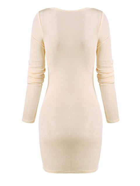 fashion Cinched Ruched Bust Sheeny Bodycon Dress - APRICOT M Mobile