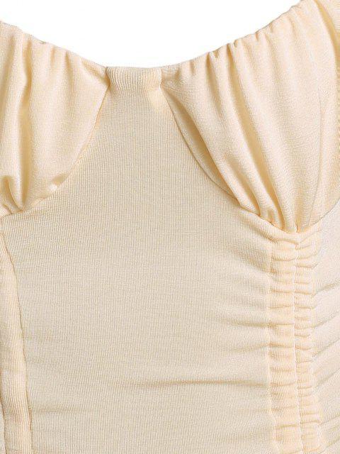 Robe Moulante Brillante Plissée Au Poitrine - Abricot L Mobile