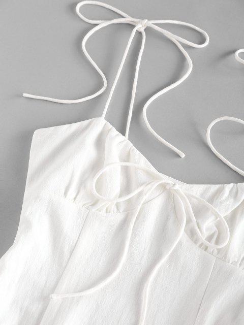 unique ZAFUL Tie Shoulder Bowknot Slit Mini Dress - WHITE XL Mobile