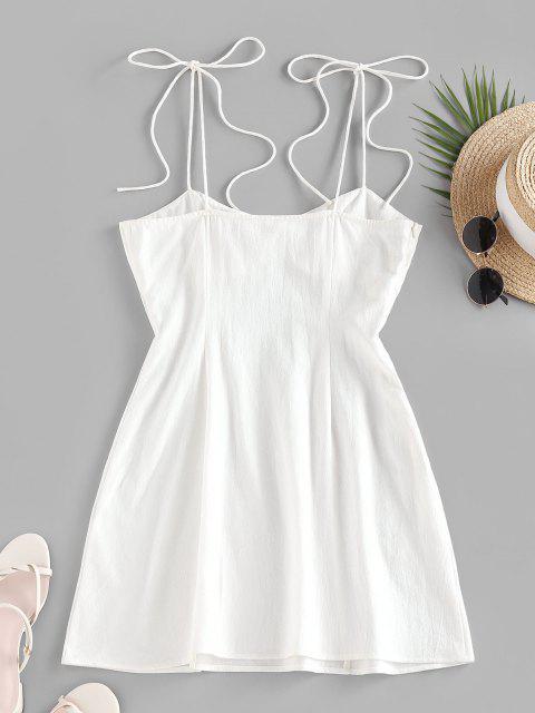 ladies ZAFUL Tie Shoulder Bowknot Slit Mini Dress - WHITE L Mobile