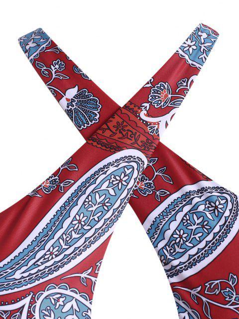 ZAFUL Maillot de Bain Croisé Cachemire Imprimé de Grande Taille Une-Pièce - Rouge XXXXL Mobile