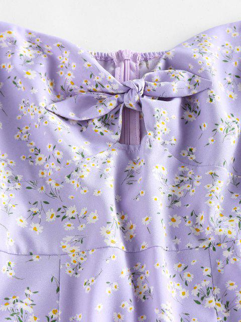 sale ZAFUL Ditsy Floral Puff Sleeve Knot Milkmaid Dress - MAUVE S Mobile
