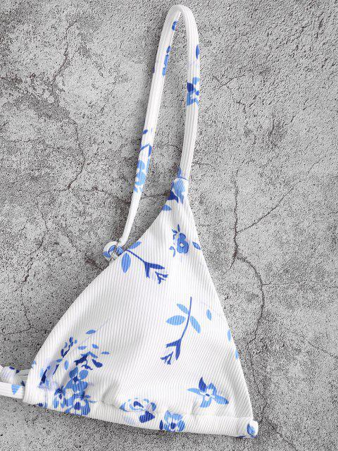 outfit ZAFUL Ribbed Floral String Bikini Swimwear - WHITE M Mobile
