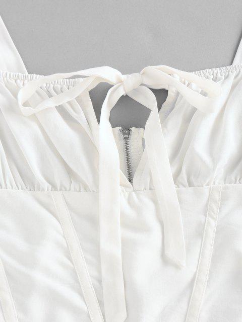 ZAFUL Haut Court Zippé Noué Plissé à Armature - Blanc L Mobile