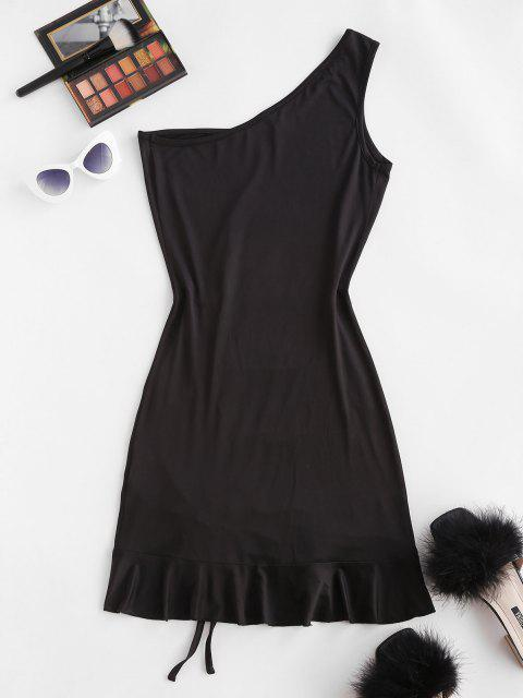women's ZAFUL One Shoulder Slinky Cinched Ruched Bodycon Dress - BLACK S Mobile