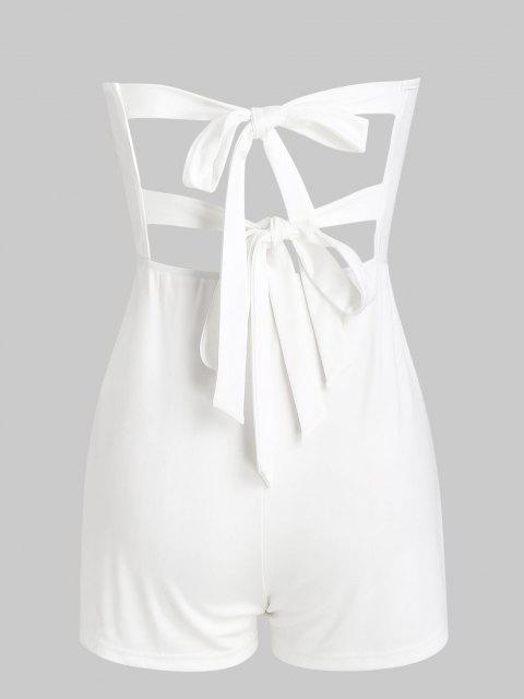 ladies Tie Back Loose Tube Romper - WHITE L Mobile