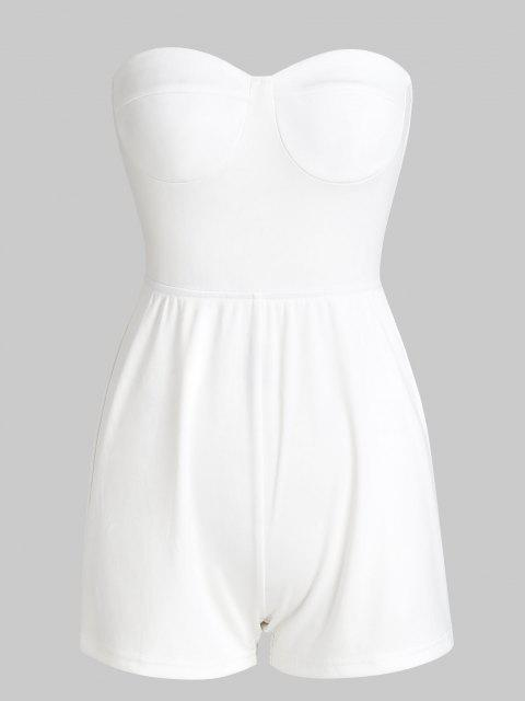chic Tie Back Loose Tube Romper - WHITE S Mobile